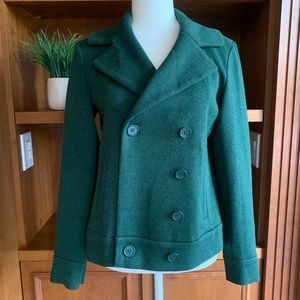 CAbi Forest Green Sweater Peacoat Size Small